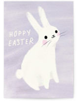 This is a purple greeting card by Lori Wemple called Happy Bunny with standard printing on signature in greeting cards.
