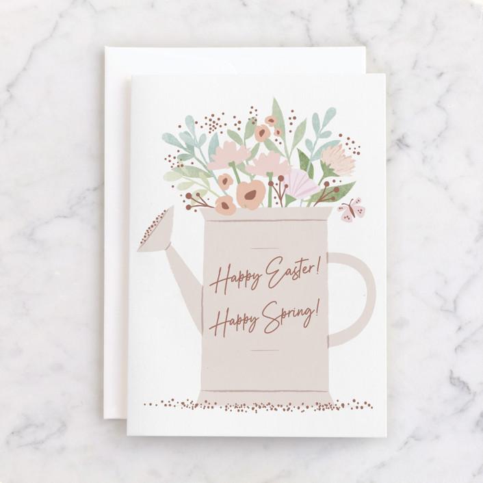 """Spring Watering Can"" - Individual Seasonal Greeting Cards in Rose by Karidy Walker."