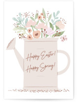 This is a pink greeting card by Karidy Walker called Spring Watering Can with standard printing on signature in greeting cards.