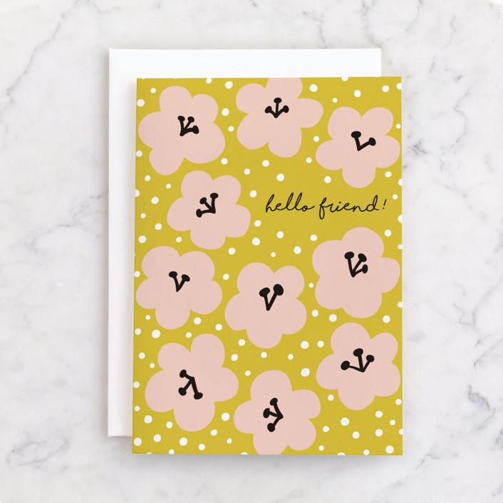 """Marcella"" - Individual Seasonal Greeting Cards in Mustard by Nieves Herranz."