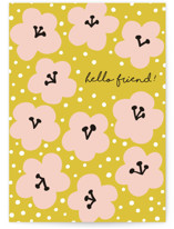 This is a yellow greeting card by Nieves Herranz called Marcella with standard printing on signature in greeting cards.