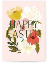 This is a pink greeting card by Haley Warner called Easter Florals with standard printing on signature in greeting cards.
