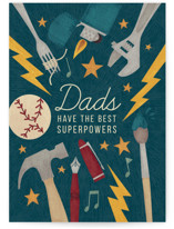 This is a blue fathers day card by Kristin Sosa called Dads' Superpowers with standard printing on signature in greeting cards.