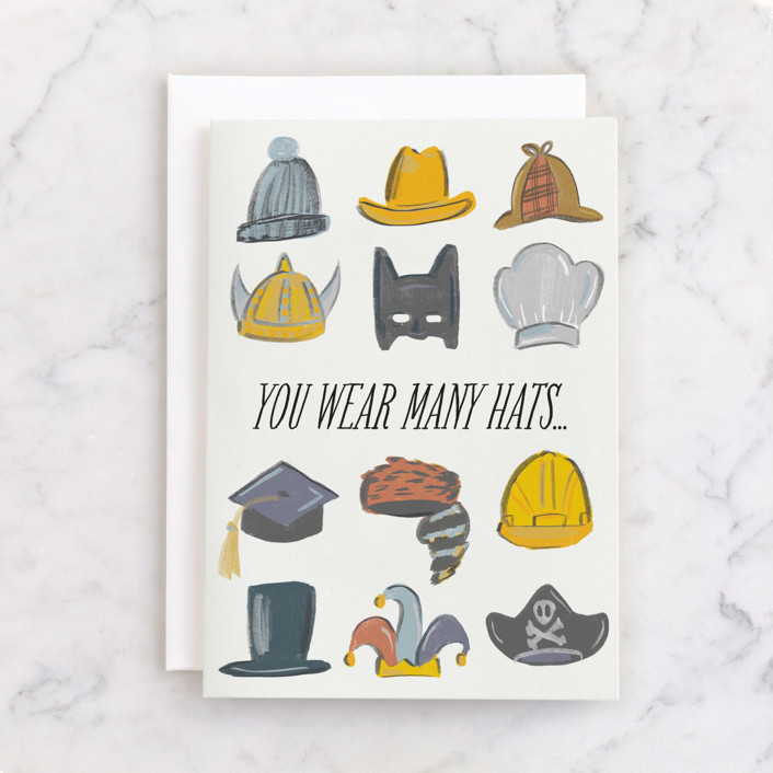 """""""the dad hat"""" - Individual Father's Day Greeting Cards in Ochre by Tanya Lee of Frooted Design."""