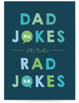 This is a blue greeting card by Jackie Crawford called Dad jokes are rad jokes with standard printing on signature in greeting cards.