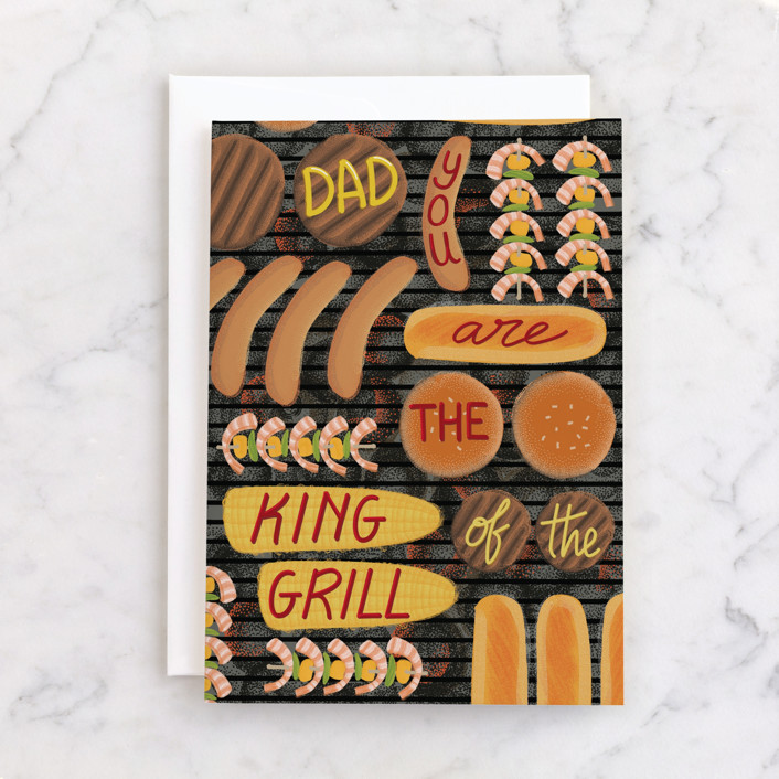 """""""King of the grill"""" - Individual Father's Day Greeting Cards in Umber by Rosana Laiz Blursbyai."""