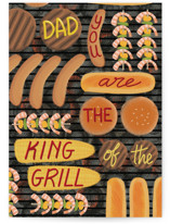 This is a brown greeting card by Rosana Laiz Blursbyai called King of the grill with standard printing on signature in greeting cards.