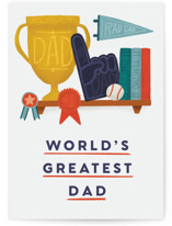 This is a orange fathers day card by Ana Peake called Greatest Dad, Consecutive Winner with standard printing on signature in greeting cards.
