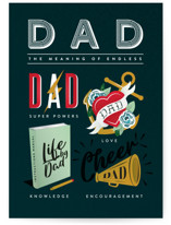 This is a green greeting card by Ana de Sousa called Dad meaning with standard printing on signature in greeting cards.