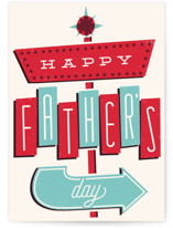 This is a red greeting card by Everett Paper Goods called Doo Wop Dad with standard printing on signature in greeting cards.