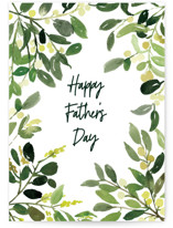 This is a green greeting card by Yao Cheng Design called Father's Day Watercolor Greenery with standard printing on signature in greeting cards.