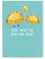 This is a blue greeting card by Noonday Design called Taco Dad with standard printing on signature in greeting cards.
