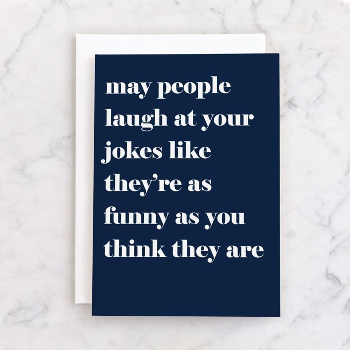 """""""Courtesy Laugh"""" - Individual Father's Day Greeting Cards in Navy by Jaclyn Rae."""