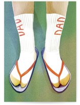 This is a green fathers day card by Becky Nimoy called Socks and Sandals with standard printing on signature in greeting cards.