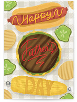 This is a yellow fathers day card by Blue Ombre co called Let's Eat! with standard printing on signature in greeting cards.