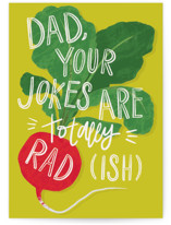 This is a green fathers day card by Snow and Ivy called Radish Jokes with standard printing on signature in greeting cards.