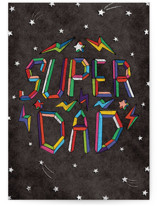 This is a brown fathers day card by Becky Nimoy called technicolor super dad with standard printing on signature in greeting cards.