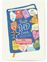 This is a blue fathers day card by Rachel K. Swanson called Official Dad Guide with standard printing on signature in greeting cards.