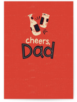 This is a red fathers day card by Laurent Collective called Cheers, Dad with standard printing on signature in greeting cards.