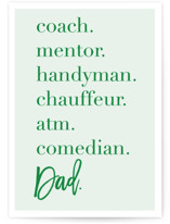 This is a green fathers day card by Alexandra Cohn called Dad Attributes with standard printing on signature in greeting cards.
