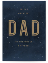 This is a blue fathers day card by Robert and Stella called Best in the Universe with standard printing on signature in greeting cards.
