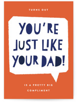 This is a orange fathers day card by Robert and Stella called Just Like You with standard printing on signature in greeting cards.