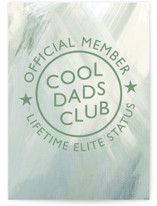 This is a green fathers day card by Aaelia Creative Lab. called cool dads club with standard printing on signature in greeting cards.