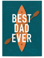 This is a blue fathers day card by Robin Ott called the adventurer with standard printing on signature in greeting cards.