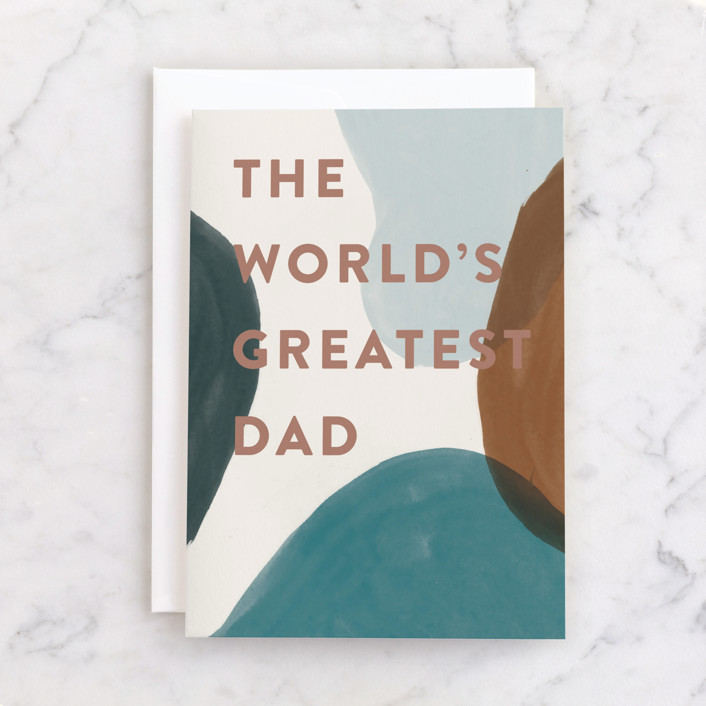 """""""Greatest Dad"""" - Individual Father's Day Greeting Cards in Ochre by Pixel and Hank."""