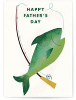 This is a green fathers day card by Urban Daisies called Fishing Dad with standard printing on signature in greeting cards.