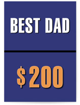 This is a blue fathers day card by Michelle Regna called Best Dad for $200, Please with standard printing on signature in greeting cards.