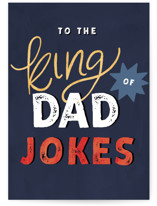 This is a blue fathers day card by Pixel and Hank called Joke King with standard printing on signature in greeting cards.