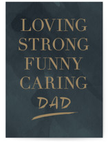 This is a green fathers day card by Stacey Meacham called character with standard printing on signature in greeting cards.