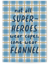 This is a blue fathers day card by Zani van Zyl called Flannel Hero with standard printing on signature in greeting cards.