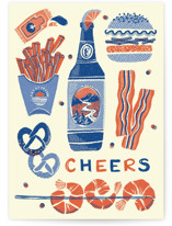 This is a blue fathers day card by Vivian Yiwing called Beer-illiant with standard printing on signature in greeting cards.