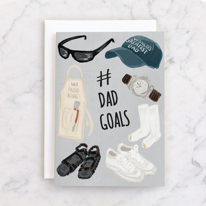 """""""# Dad Goals"""" - Individual Father's Day Greeting Cards in Slate by Shiny Penny Studio."""