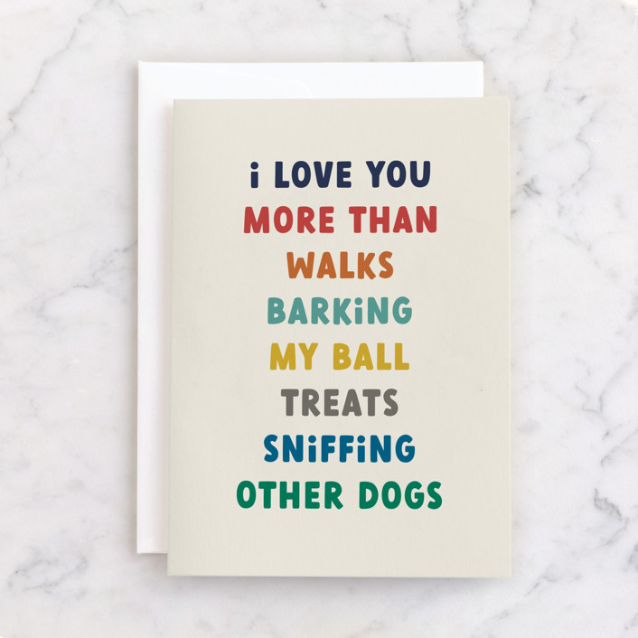 """""""Puppy Love"""" - Individual Father's Day Greeting Cards in Beige by Jessica Williams."""