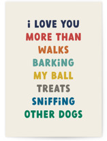 This is a beige fathers day card by Jessica Williams called Puppy Love with standard printing on signature in greeting cards.