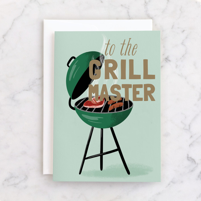 """""""Grill-iant"""" - Individual Father's Day Greeting Cards in Mint by Everett Paper Goods."""
