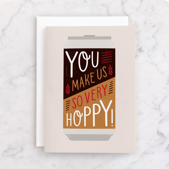 """""""Very Hoppy"""" - Individual Father's Day Greeting Cards in Ochre by Erica Krystek."""