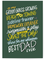 This is a green fathers day card by Cindy Reynolds called Ringmaster of Play with standard printing on signature in greeting cards.