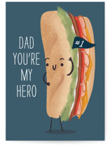 This is a blue fathers day card by Itsy Belle Studio called Dad Hero with standard printing on signature in greeting cards.
