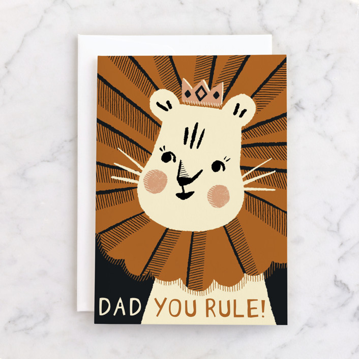 """""""The King"""" - Individual Father's Day Greeting Cards in Ochre by Vivian Yiwing."""