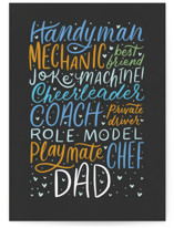 This is a black fathers day card by Ashley DeMeyere called Dad Is Everything with standard printing on signature in greeting cards.