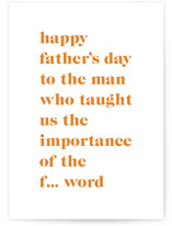 This is a orange fathers day card by Nazia Hyder called The Man with standard printing on signature in greeting cards.