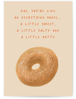 This is a beige fathers day card by Carol C. Young called Everything Bagel with standard printing on signature in greeting cards.