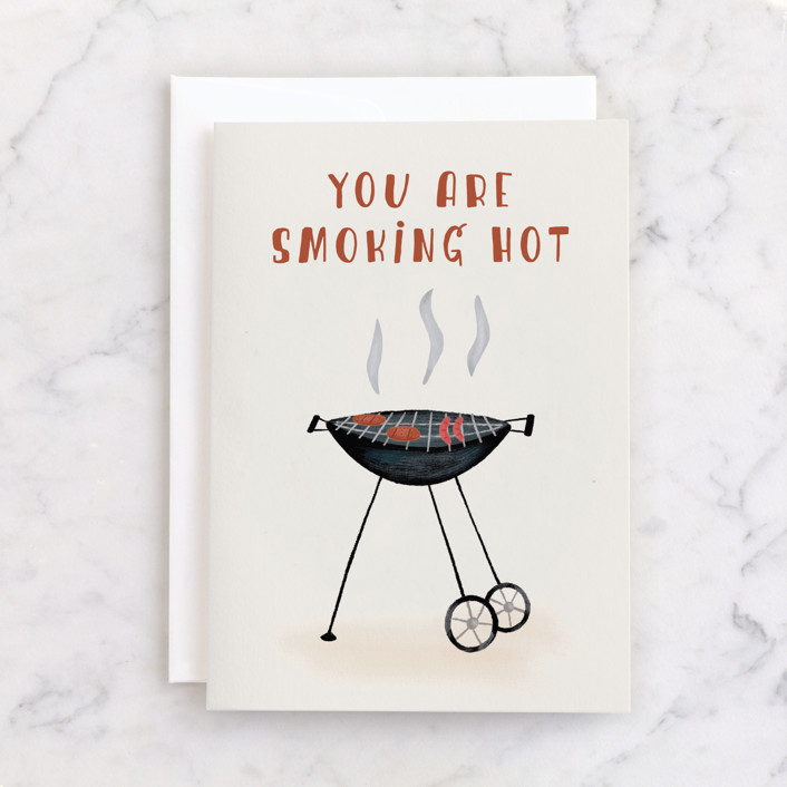 """""""Smoking Hot"""" - Individual Father's Day Greeting Cards in Cream by Juliana Zimmermann."""