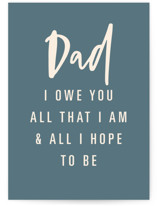 This is a blue fathers day card by Dominique Vari called My Dad, My Inspiration with standard printing on signature in greeting cards.