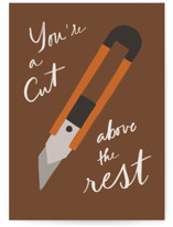 This is a brown fathers day card by Creo Study called Cut above the rest with standard printing on signature in greeting cards.
