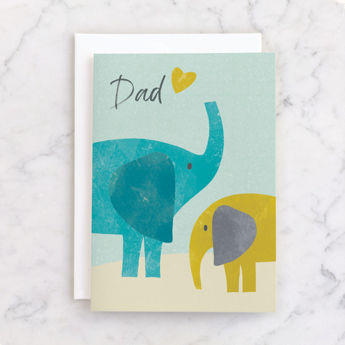 """""""Elephants"""" - Individual Father's Day Greeting Cards in Sky Blue by Farinaz Vaseghi."""